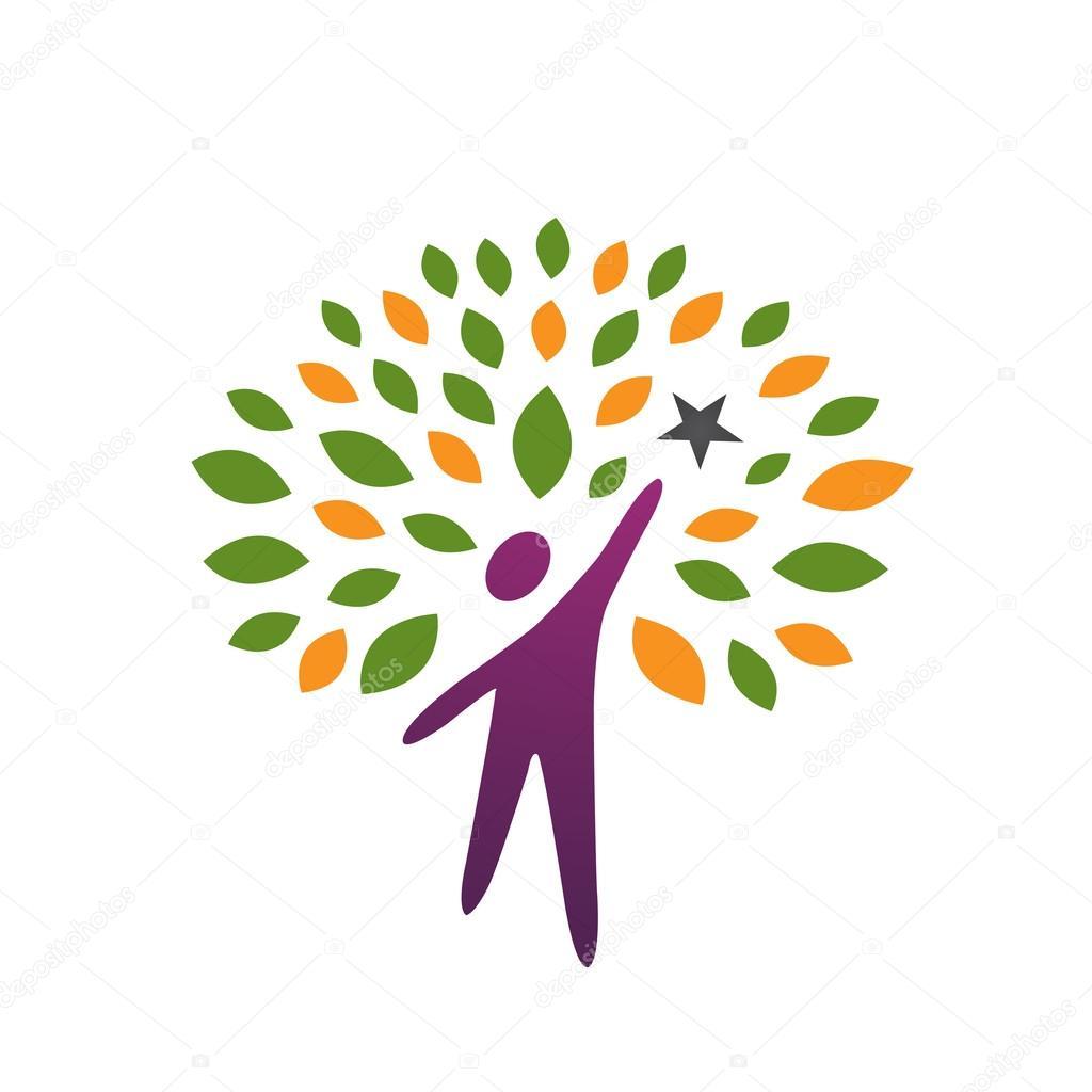 Vector Purple Tree People reaching Star