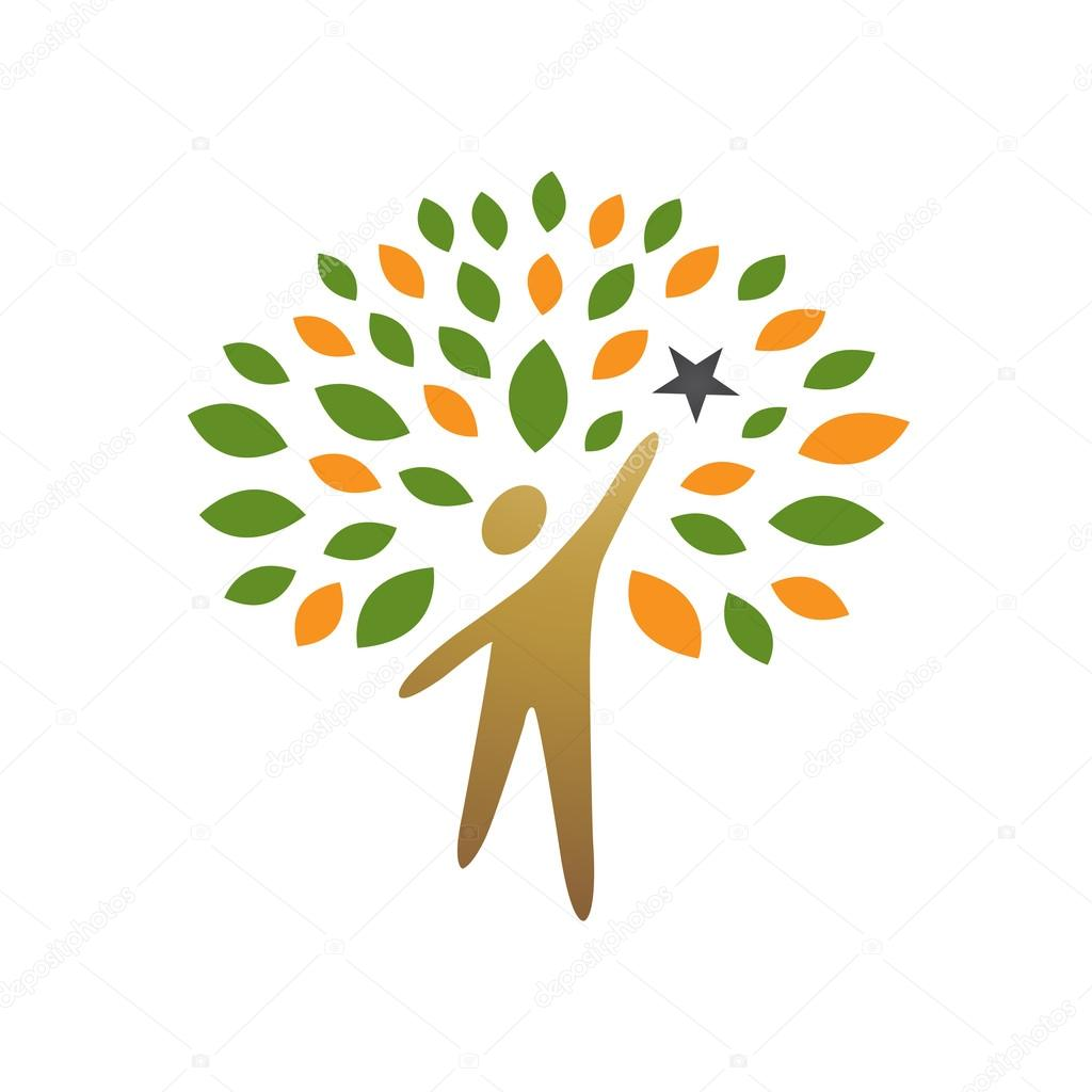 Vector Golden Tree People reaching Star