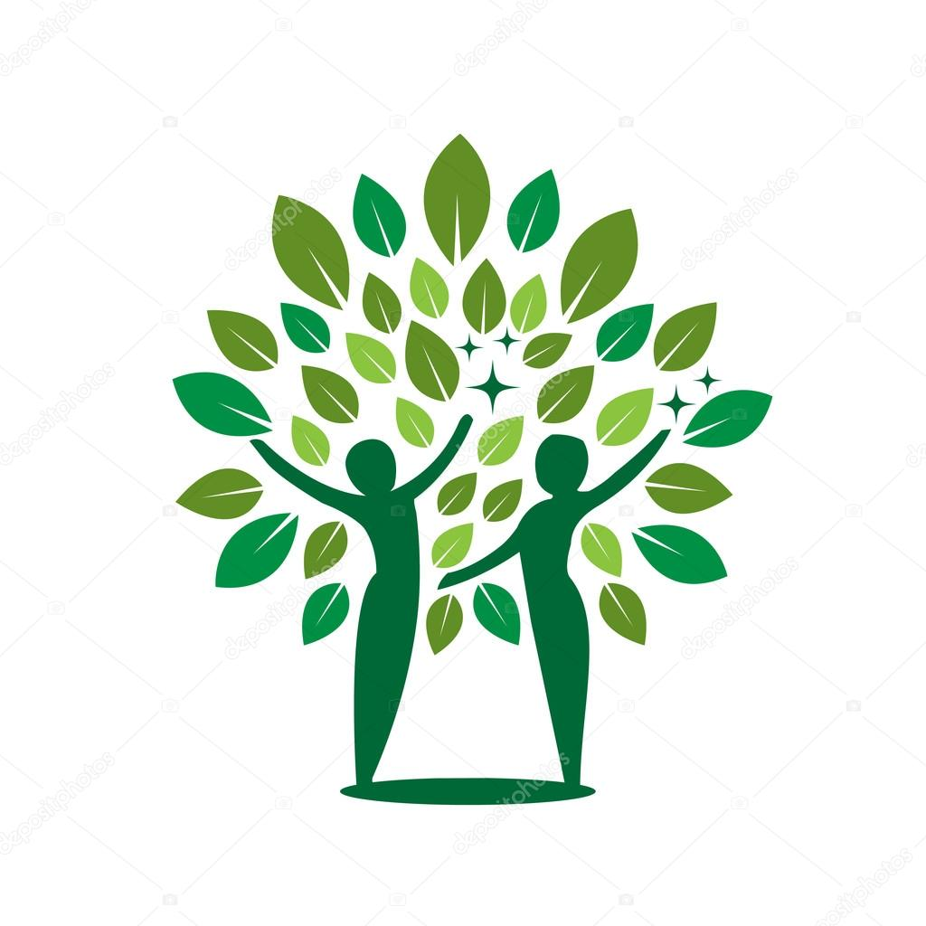 Vector Couple Green Tree Healing Concept
