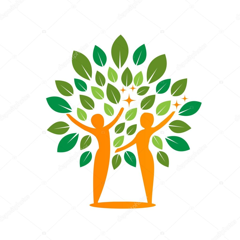 Vector Orange Green Tree Healing Concept