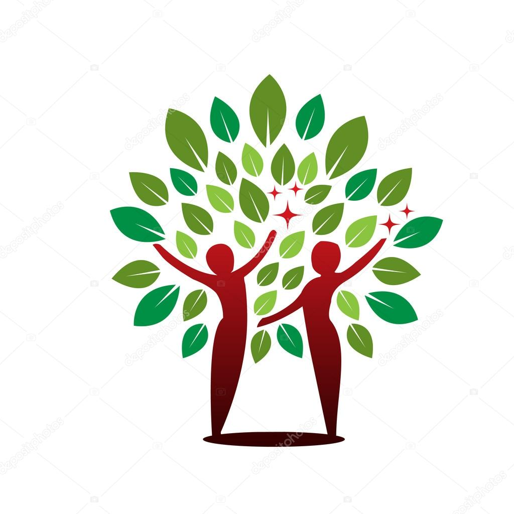 Vector Red Green Tree Healing Concept