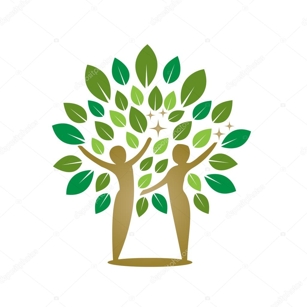 Vector Golden Green Tree Healing Concept
