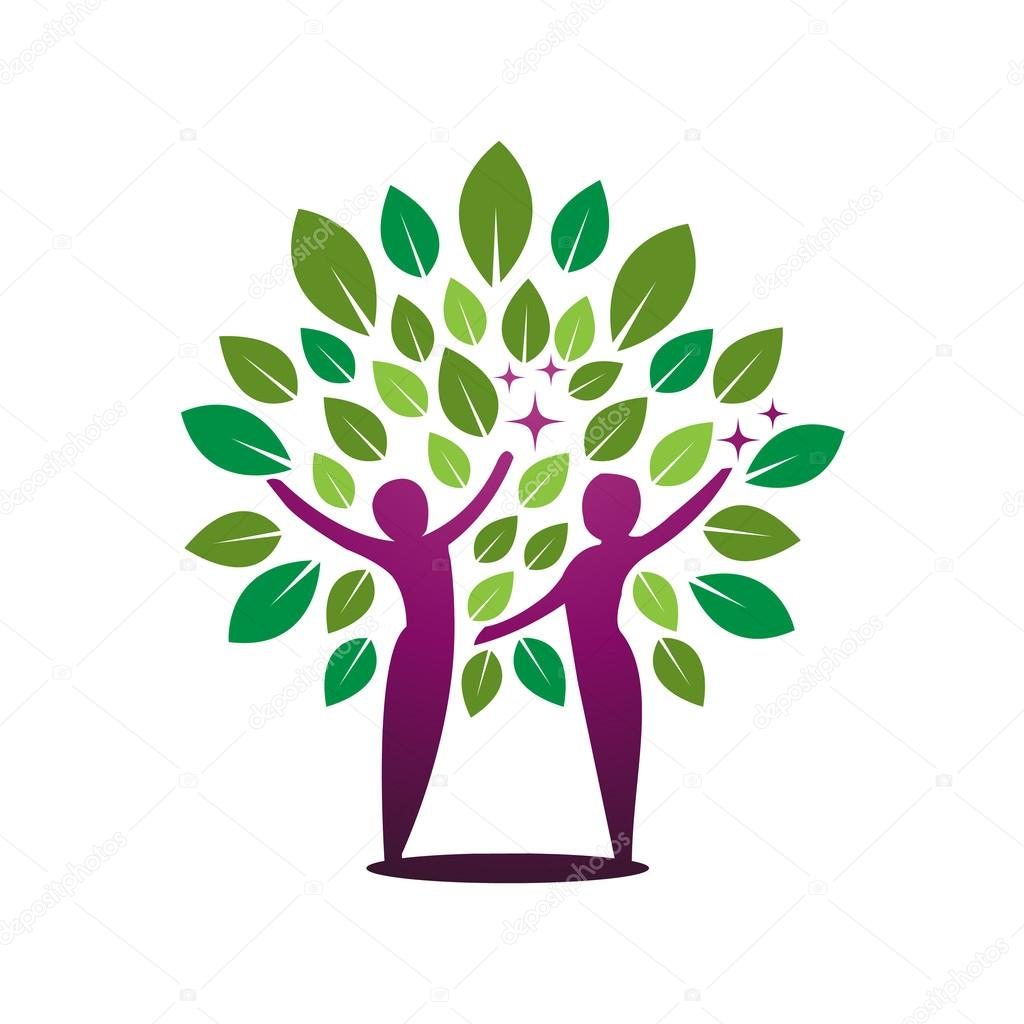 Vector Purple Green Tree Healing Concept