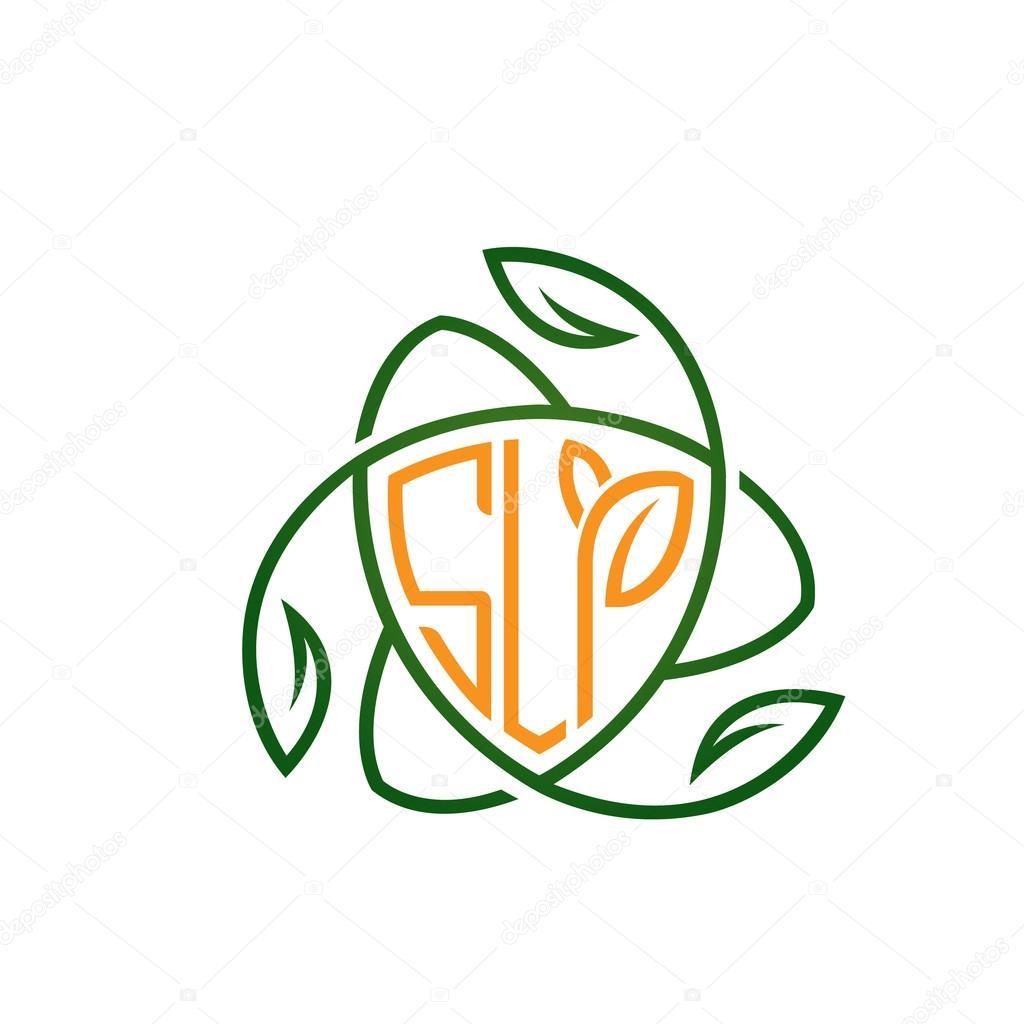 Vector Orange Shield Letter Concept