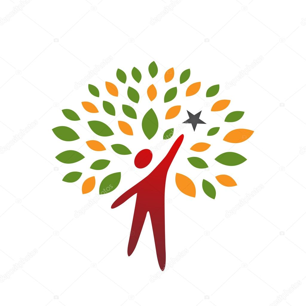 Vector Red Reaching Star People Tree