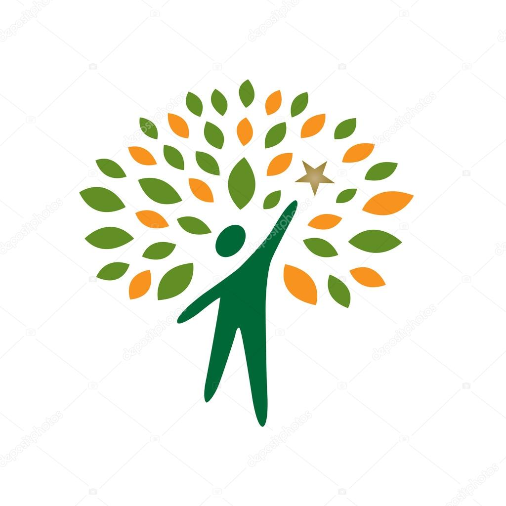 Vector Green Tree People Reaching Star Logo