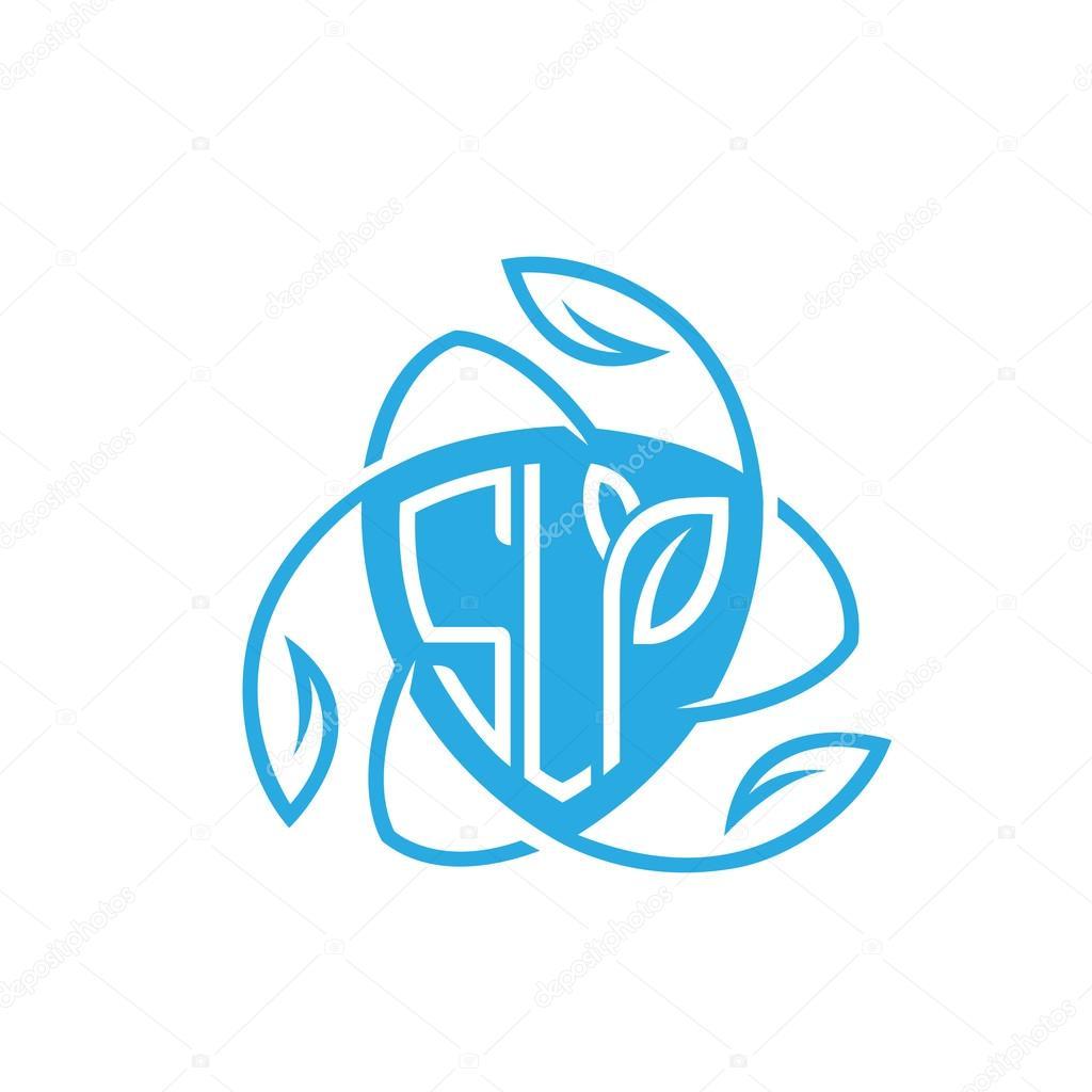 Vector Blue Shield Letter S L P