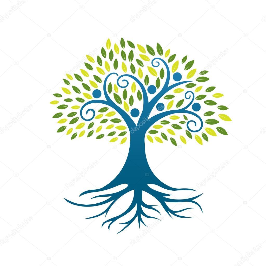 Vector Blue People Tree Community