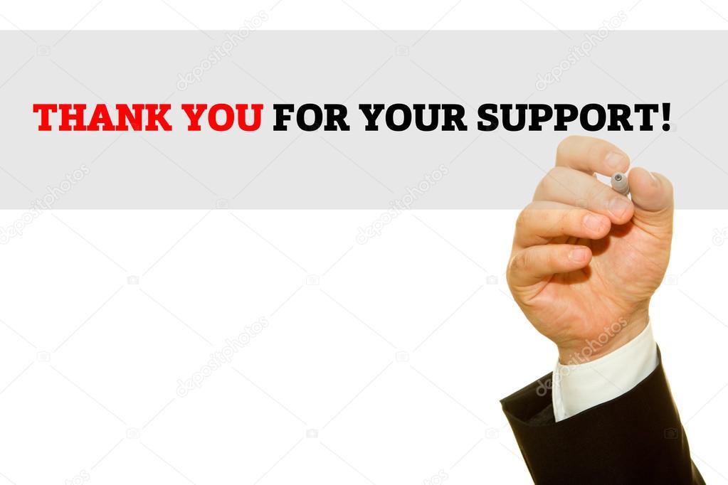 Main qui écrit je vous remercie pour votre soutien sur une planche