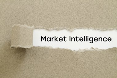 Market Intelligence inscription inside of hole in cardboard