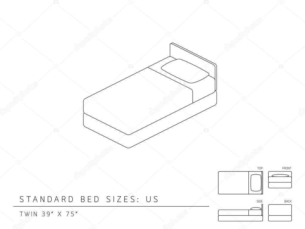 Standard bed sizes of us (United States of America) Twin size