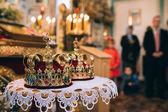 Wedding crowns in church