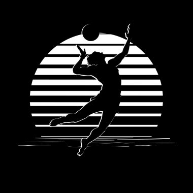 Black and white stripes logo with volleyball player silhouette