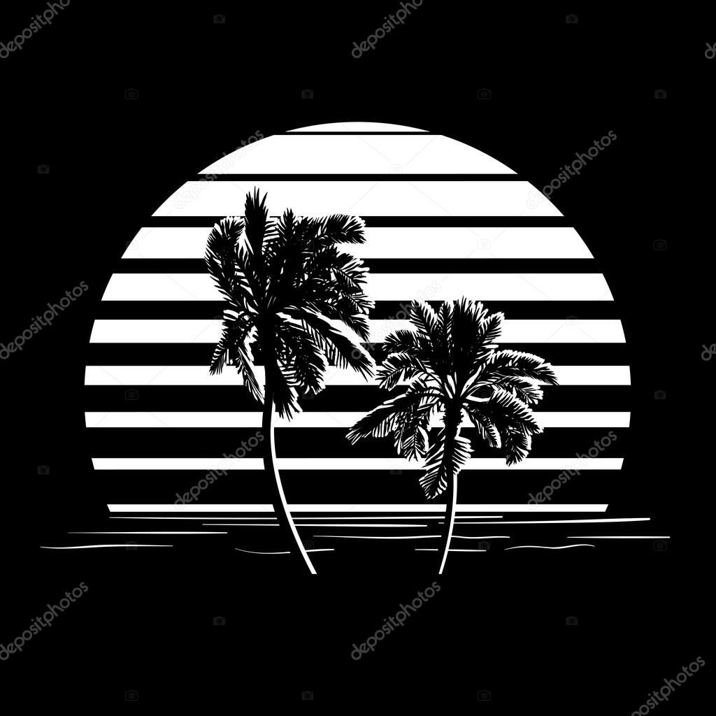 Black and white stripes logo with palm trees