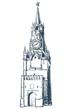 Spasskaya Tower sketch on white BG