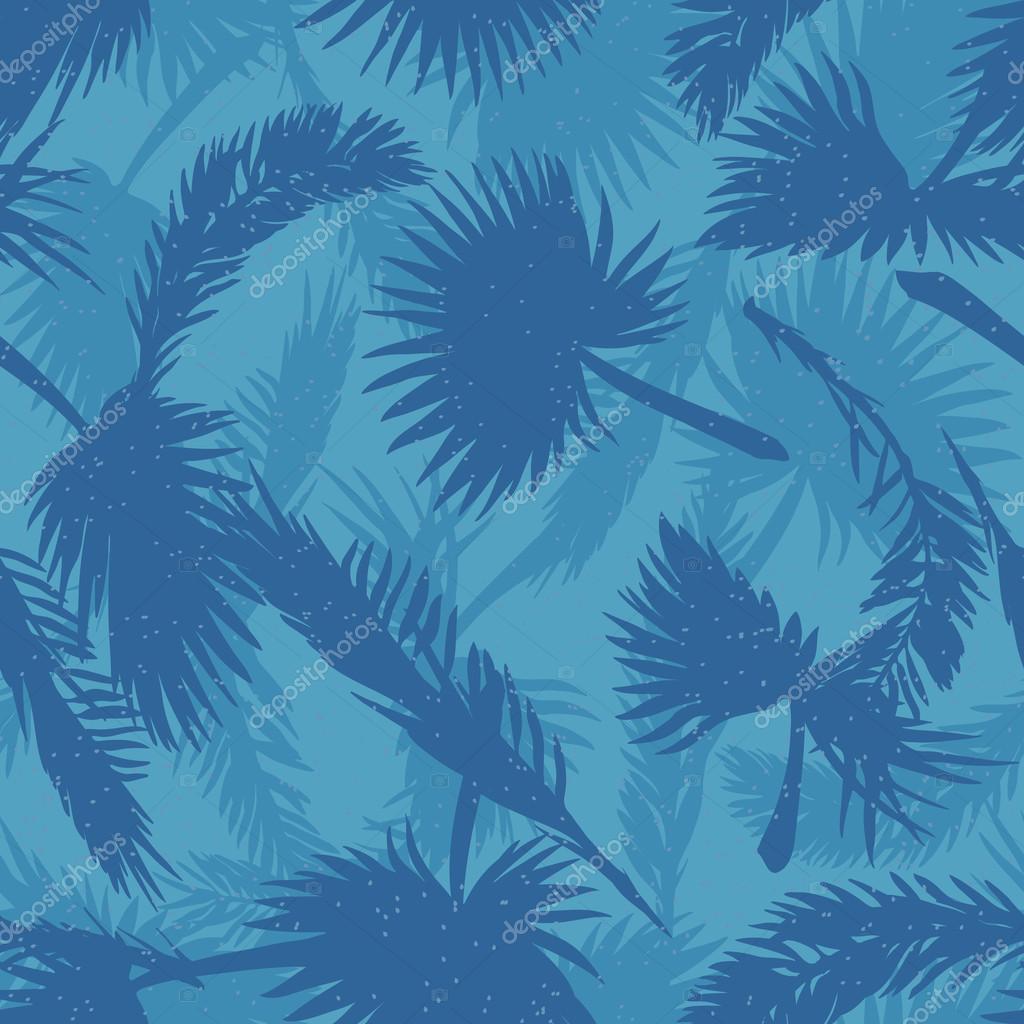 palm trees leaves pattern blue stock vector aen seidhe 113355670