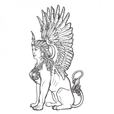 Sketch drawing of sitting sphinx isolated on white background.