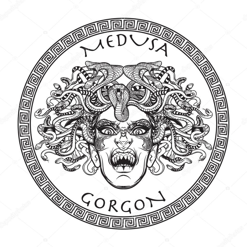 Schizzo di medusa gorgone bw vettoriali stock aen for Medusa da colorare