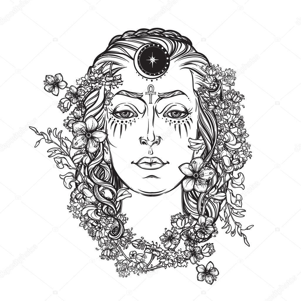 White goddess BW sketch
