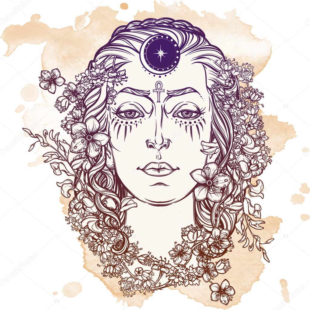 White goddess sketch on a grunge background
