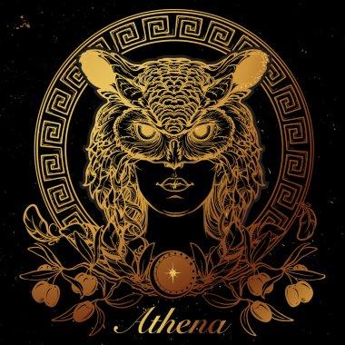Athena sketch. Gold on black.
