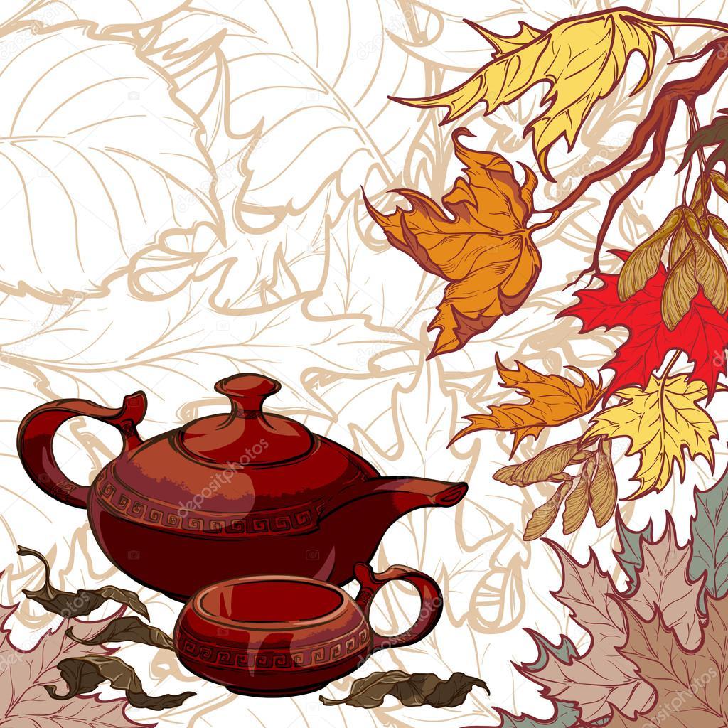 Tee-Zeremonie Einladung Vorlage — Stockvektor © Aen_Seidhe #123352348