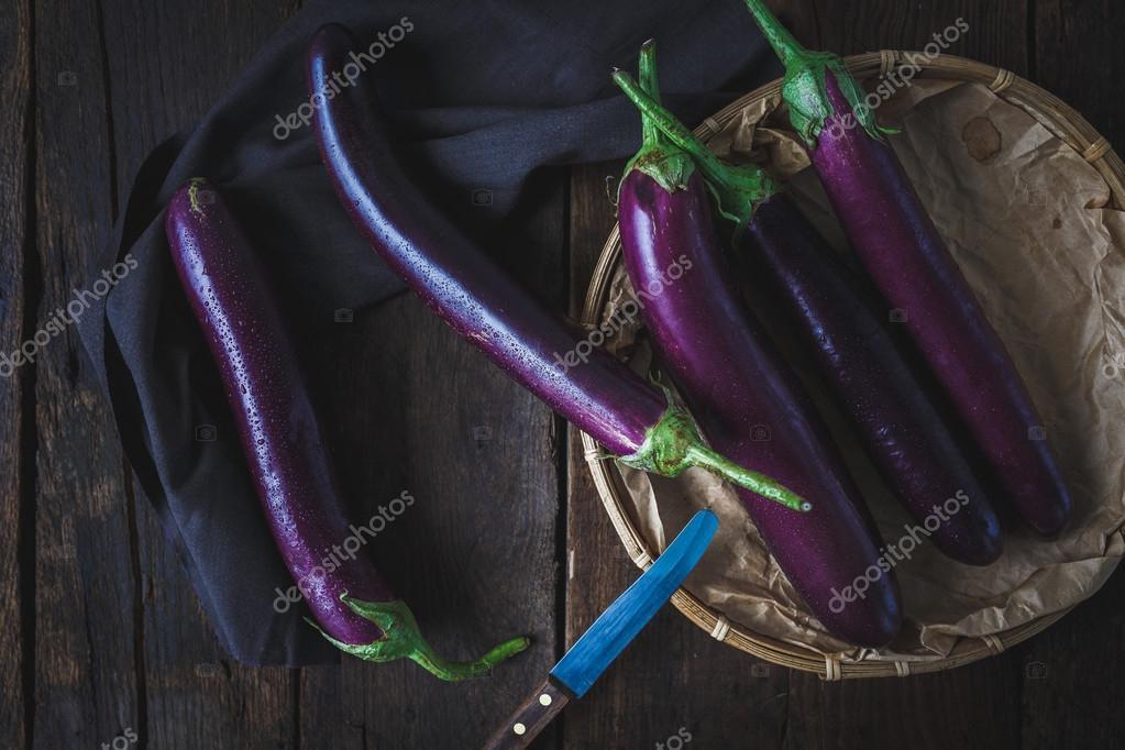 Purple eggplants group