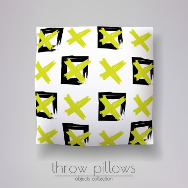 pillow model with colorful crosses