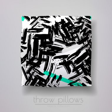 pillow model with prints and patterns