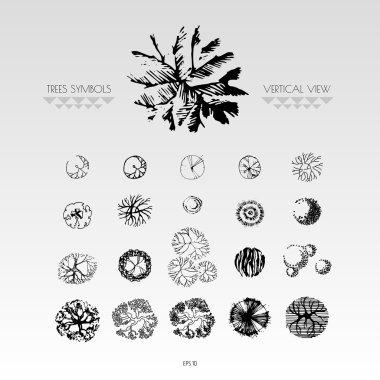 Set of vertical view trees symbols