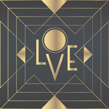 'Love' rectangular greeting card