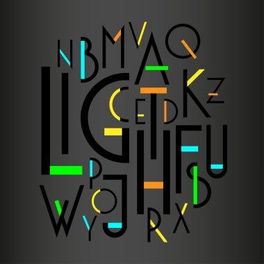 alphabet, sans serif font.
