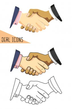 Deal icons. Business handshaking.
