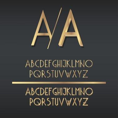 Gold A to Z alphabet.