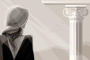 Woman with blond hair standing near column