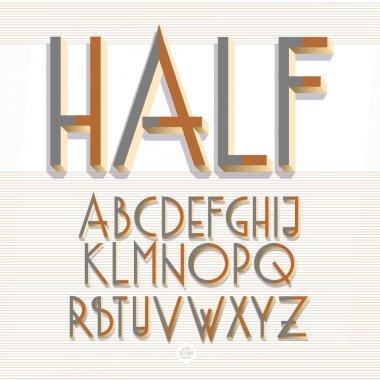3d isometric retro alphabet