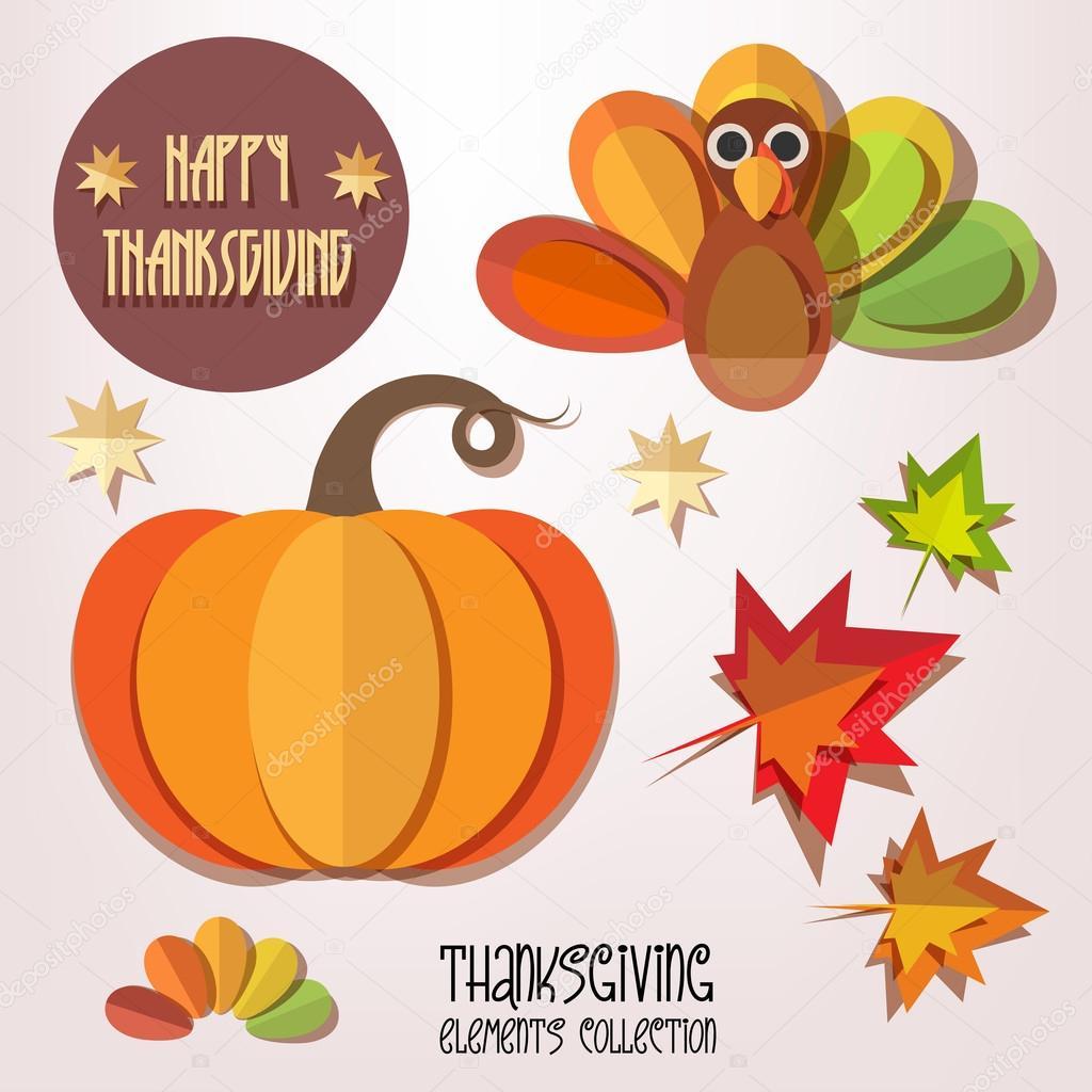 happy thanksgiving day elements set stock vector tekla pototska rh depositphotos com Yay Clip Art Hooray Clip Art