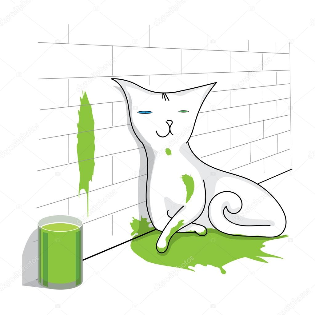 cat sitting in the green paint puddle — Vector de stock © tekla ...