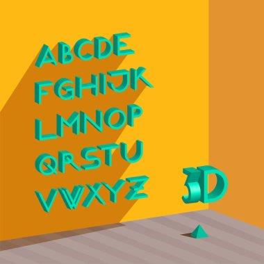 3d isometric alphabet.