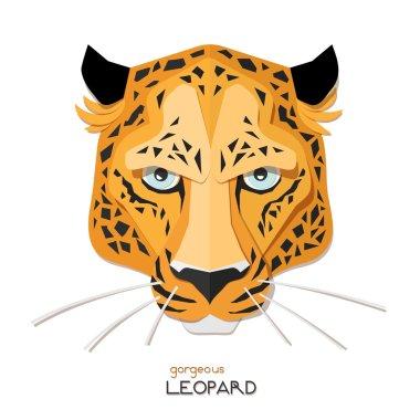 Leopard face paper portrait.