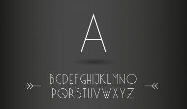 Minimalistic line font on a