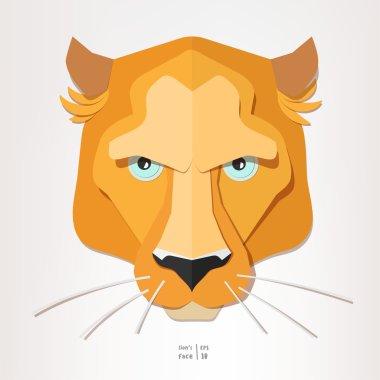 Lioness face paper portrait.