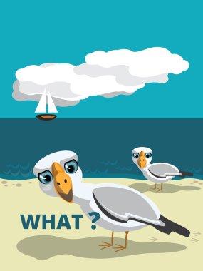 cartoon seagulls walking the seashore