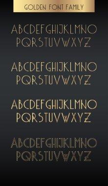 Golden outline font.
