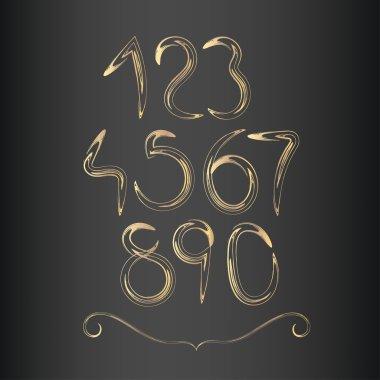 golden decorative handwritten numbers