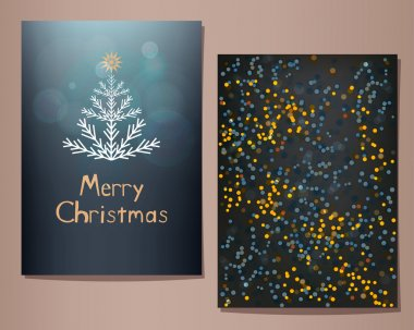 Merry Christmas greeting cards set.
