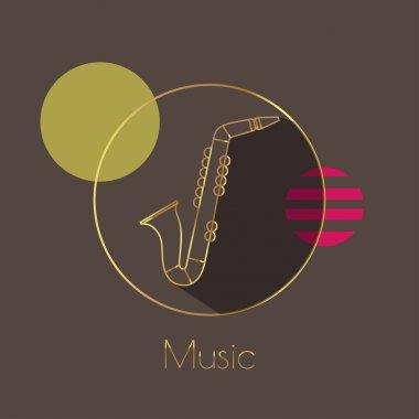 Saxophone golden line art icon