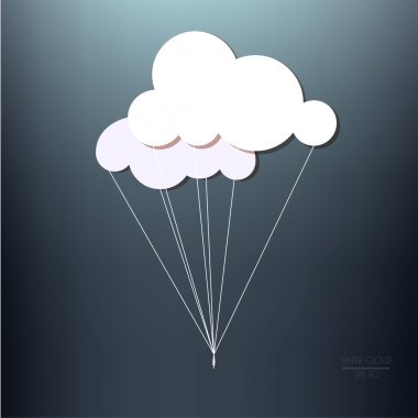 Two white paper clouds with  threads
