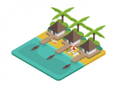 Bungalow beach with palms vector isometric landscape. Beach real estate. Thailand beach with houses oceanfront. Tropical beach vector with houses, palm trees, surfing. Summer vacation icon with island, ocean, beach. Summer beach background vector.