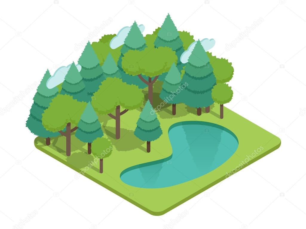 Isometric forest, isometric park, isometric wood, isometric garden landscape with lake, grass, fir-trees and other trees. Isometric ecology vector with nature view. Isometric vector eco nature infographics. Isometric forest trees vector illustration.